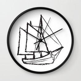 Ship Line Art Wall Clock