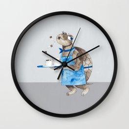 Turtle waitress coffee time Wall Clock
