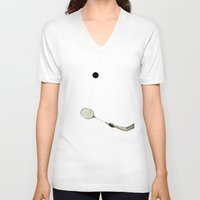 tennis V-neck T-shirts featuring Tennis by Cassia Beck