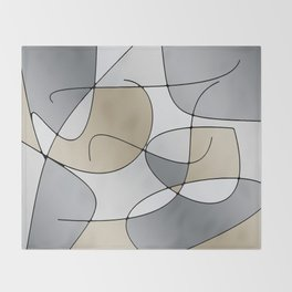 ABSTRACT CURVES #1 (Grays & Beiges) Throw Blanket