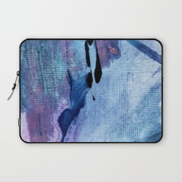 Pull: an abstract mixed media piece in blues, purple, black, and white Laptop Sleeve