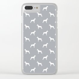 Doberman Pinscher dog pattern grey and white minimal dog breed silhouette dog lover gifts Clear iPhone Case