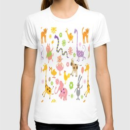 kids animal giraffe elephant cows horse pigs chicken snake cat rabbits duck flower floral rainbow T-shirt