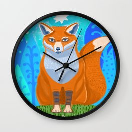 Fox in the woods Wall Clock
