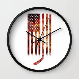 Ice Hockey USA Flag Wall Clock