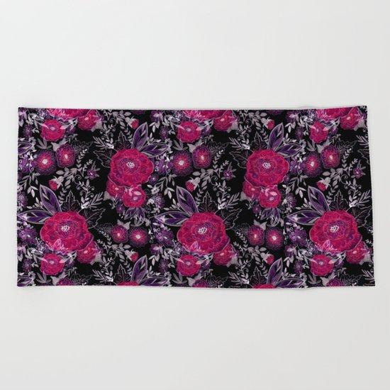 Pink roses on black background . Beach Towel