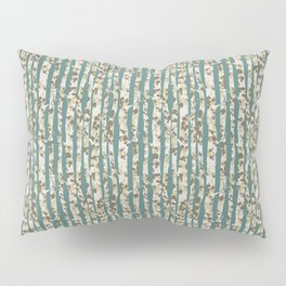Inky Silver Birches - Ice Blue Pillow Sham