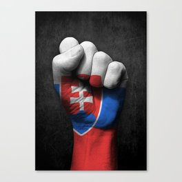 Slovakian Flag on a Raised Clenched Fist Canvas Print