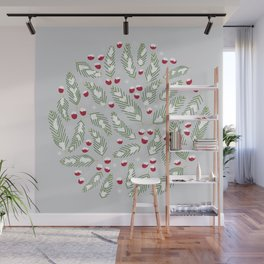 Winter Berries in Gray Wall Mural