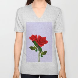 ROMANTIC RED ROSES ART Unisex V-Neck