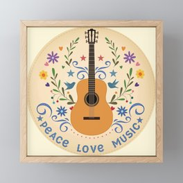 Peace Love And Music Folk Guitar Badge Framed Mini Art Print