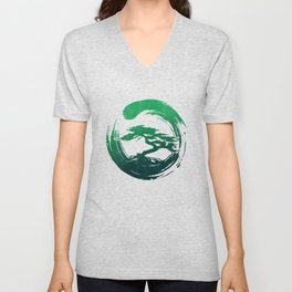 Green Bonsai in Enso Unisex V-Neck