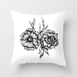 Two Inked Flowers Throw Pillow