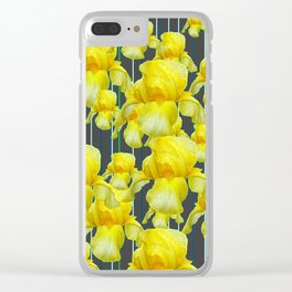 CHARCOAL GREY YELLOW IRIS GARDEN ABSTRACT Clear iPhone Case