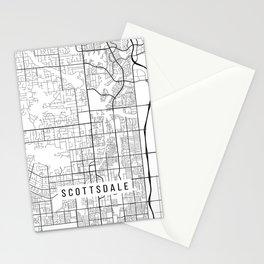 Scottsdale Map, Arizona USA - Black & White Portrait Stationery Cards