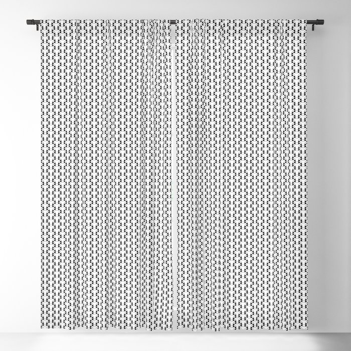 Black and White Basket Weave Shape Pattern 2 - Graphic Design Blackout Curtain