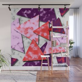 Triangles Layered Pattern in Red Purple and Pink Wall Mural