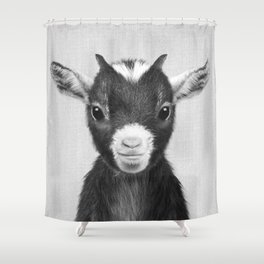 Baby Goat - Black & White Shower Curtain