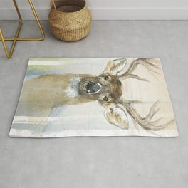 White-tailed Deer Surrounded By Birch Rug