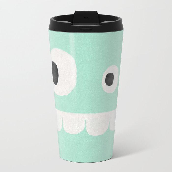 Face VI (mint green) Metal Travel Mug