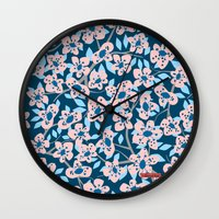 cherry blossom Wall Clocks featuring Cherry Blossom by Alannah Brid