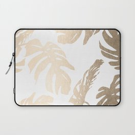 Simply Tropical Palm Leaves in White Gold Sands Laptop Sleeve