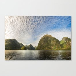 Sunglow over interesting Mountain Range at Doubtful Sound Canvas Print