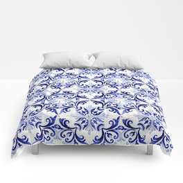 Azulejo V - Portuguese hand painted tiles Comforters