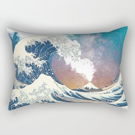Great Wave Off Kanagawa Surrealism-Mount Fuji Eruption and Starry Sky Rectangular Pillow