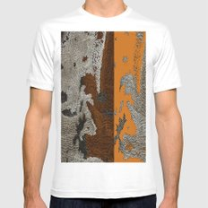 Abstract textured art work MEDIUM Mens Fitted Tee White