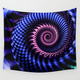 fractal, spiral, blue Wall Tapestry