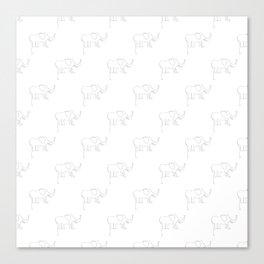 Line Elephant March (White) Canvas Print