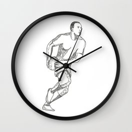 Rugby Player Passing Ball Doodle Art Wall Clock