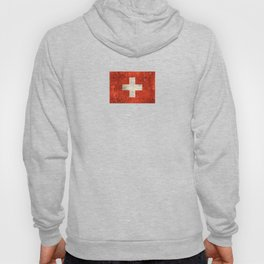 Vintage Aged and Scratched Swiss Flag Hoody