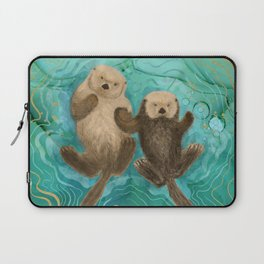 Otters Holding Paws, Floating in Emerald Waters Laptop Sleeve