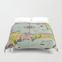 cape cod Duvet Covers featuring Vintage Map of Cape Cod by BravuraMedia