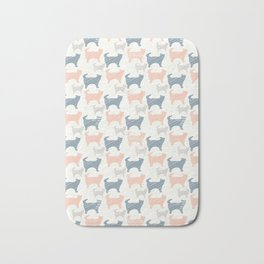 Blue Pink and Grey Pastel Kitty Cat Silhouette Bath Mat