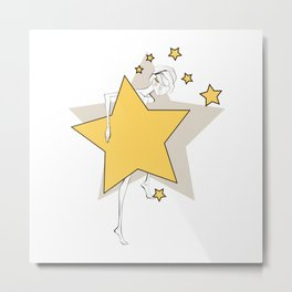 Paper doll with yellow stars Metal Print
