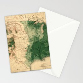 Map Of American Forests 1883 Stationery Cards
