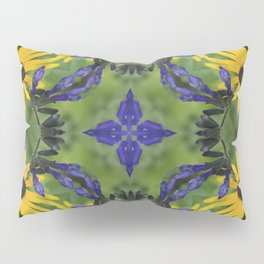 Blue Salvia Compass Points in a Ring of Rudbeckia Pillow Sham