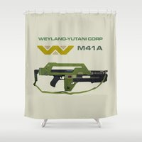 aliens Shower Curtains featuring Aliens M41A by avoid peril