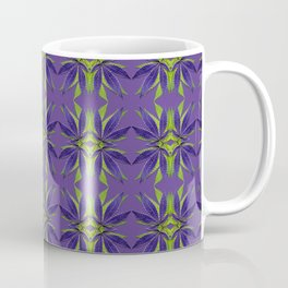 Marijuana Leaves Ultra Violet Pattern Coffee Mug