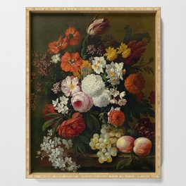 """Philip van Kouwenbergh """"Still life of flowers with roses, peonies, hollyhock, tulips, grapes..."""" Serving Tray"""