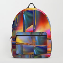 Mirrored Metallic Tile Fire Colors Backpack