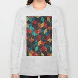 Colorful Isometric Cubes Long Sleeve T-shirt