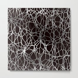 Pattern and Light black silver Metal Print