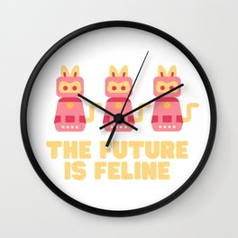 The Future Is Feline  Wall Clock