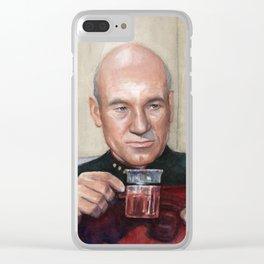Tea. Earl Grey. Hot. Captain Picard Star Trek | Watercolor Clear iPhone Case