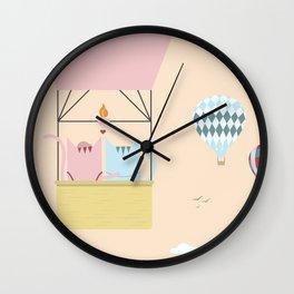 Traveling Tabbies: Hot Air Balloon Wall Clock