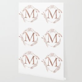 Letter M Rose Gold Pink Initial Monogram Wallpaper